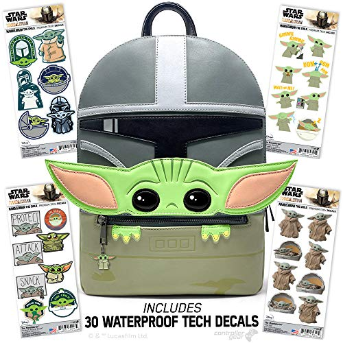 Controller Gear Baby Yoda Backpack -Star Wars: The Mandalorian- The Child Official Disney Bag Purse + Decal/ Sticker 4 Pack Collectibles Gifts. Woman Men Kids Boys - Not Machine Specific