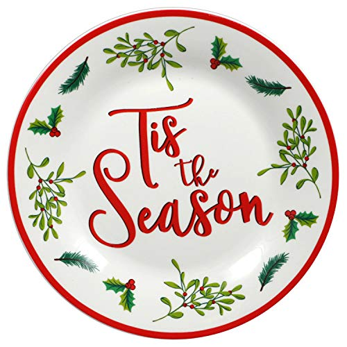 Set of 6 White Stoneware Side Plates with 'Tis the Season Sentiment, 7.5 in.