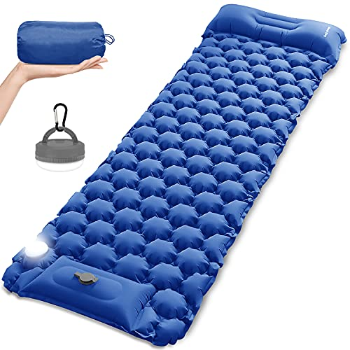 Self Inflating Sleeping Pad for Camping with LED Light Lantern, MOUNTDOG Built-in Foot Pump Ultralight Inflatable Waterproof Air Mattress for Backpacking, Camp, Hiking, Travel, Tent