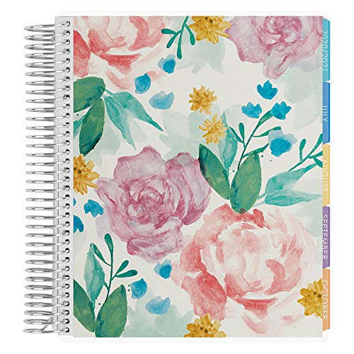 Erin Condren 18 - Month 2020-2021 Watercolor Blooms Coiled Life Planner with Flower Power Interior (July 2020 - December 2021) Vertical Weekly Layout. Organizer, Monthly Calendar Tabs and Stickers