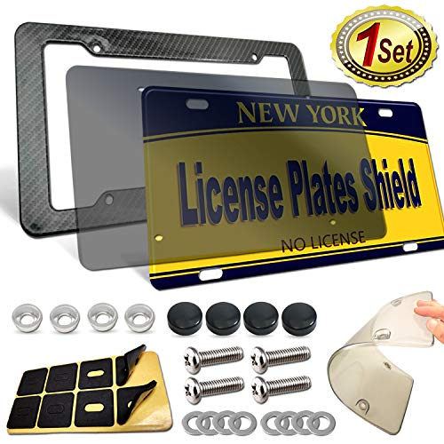 ZXFOOG License Plate Frame Cover Kit- Carbon Fiber Plate Holder Plastic, Flat Smoked Tinted Novelty Plate Cover, Unbreakable Shield to Protect Car Tag, Stainless Steel Screws, Caps, Rattle Proof Pad