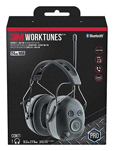3M - 90542-3DC WorkTunes Connect + AM/FM Hearing Protector with Bluetooth Technology, Ear protection for Mowing, Snowblowing, Construction, Work Shops Black