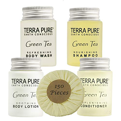 Terra Pure Hotel Size Toiletries Set | 1-Shoppe All-In-Kit Amenities For Hotels, Airbnb & Rentals | 1 oz Hotel Shampoo & Conditioner, Body Wash, Body Lotion & 1.25 oz Bar Soap | 150 Piece Travel Set