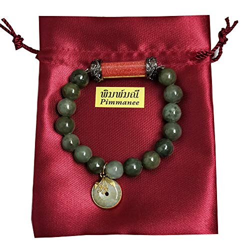 Heavens Tvcz Natural Green Jade Bracelets Rare Colors Phra Sakyamuni Red Buddha with Green Round Donut Thailand Bring Attract Money Prosperity Luck Success Trade Flourishing Prevent Danger
