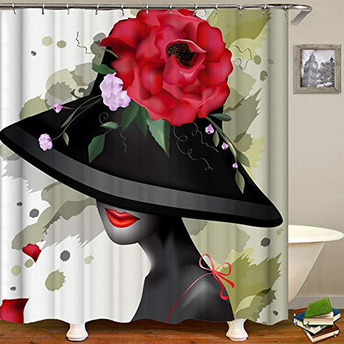 African American Shower Curtains Sexy Black Girl with Floral Hat Fabric Shower Curtain With Hooks for Bathroom Stall Bathtubs, 59x71,10