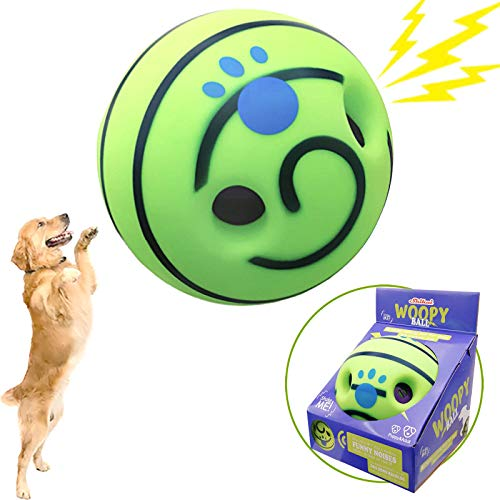 Upgraded Wobble Giggle Dog Ball with Funny Giggly Sounds Interactive Dog Toys That Make Noise Pet Playing & Training Safe Green Wab Squeaky Gift for Puppies Small Medium and Large Dogs