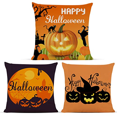 Diateklity Halloween Pumpkin Throw Pillow Covers 18x18 Inches 3 Pcs Decoration for Couch Sofa Patio Cotton Linen Pillowcases