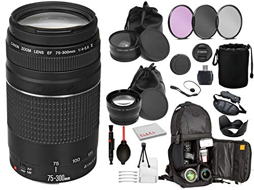 Canon EF 75-300mm f/4-5.6 III Lens (6473A003) with Professional Bundle Package Kit for Canon EOS Includes: DSLR Sling Backpack, 3PC Filter Kit, Wide Angle & Telephoto Lens + More