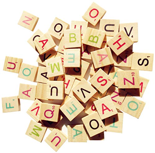 Abbaoww 600 Pcs Wood Colorful Scrabble Tiles Letter Tiles Wood Pieces for Crafts, Pendants, Spelling and Scrapbook