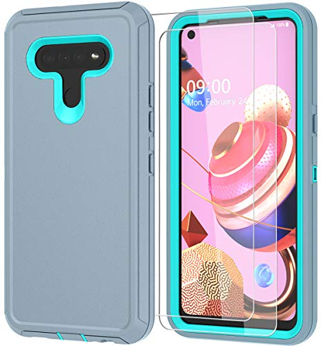 ComoUSA Compatible with LG K51 Case, with HD Screen Protector (2 Packs) Rugged Heavy Duty and Shockproof Proof 3-Layer Durable Cover for LG K51 Phone (Gray-SkyBlue)
