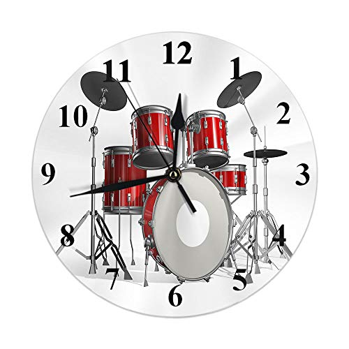 Moslion Music Clock Rock N Roll Jazz Musical Instrument Cool Drum Set for Show Concert Party Round Wall Clock Slient Non Ticking Rustic Home Decor 10 Inch for Kitchen Bathroom Office Red Silver White