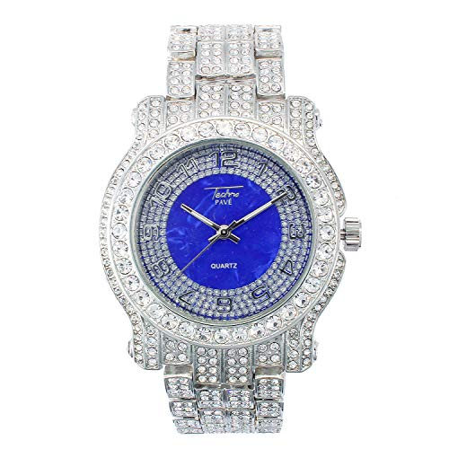 Mens Silver 45mm Iced Out Watch with Sapphire Blue Dial and Simulated Crystals - Re-sizable Links (Quartz Movement)