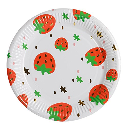 Geeklife Gold Paper Strawberry Plates , Sparkly Gold Foil Paper Dessert Plates , 9 inch Fruit Plates , Noble Gold Decorative Party Plates Set , 20 count
