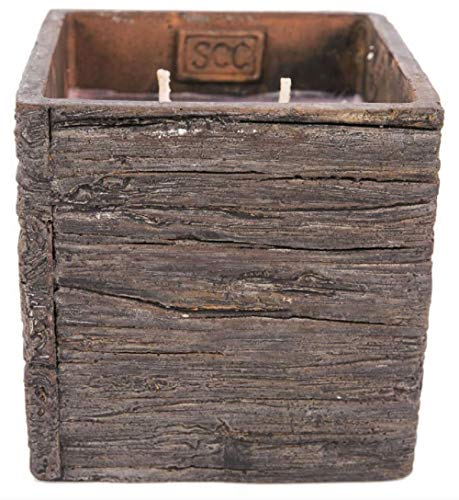 Swan Creek Large 26 Ounce - Spiced Orange & Cinnamon - American Soybean Wax Double Wick Candle in Weathered Wood Square Resin Pottery