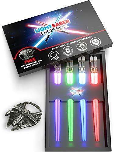 Lightsaber Chopsticks | Star Wars Gifts and Toys for Kids | LED Light Up Reusable Dishwasher Safe Chopstick | Fun Kitchen and Sushi Accessories | Chop Sticks Light Saber | 4 PAIRS & FREE BOTTLE OPENER