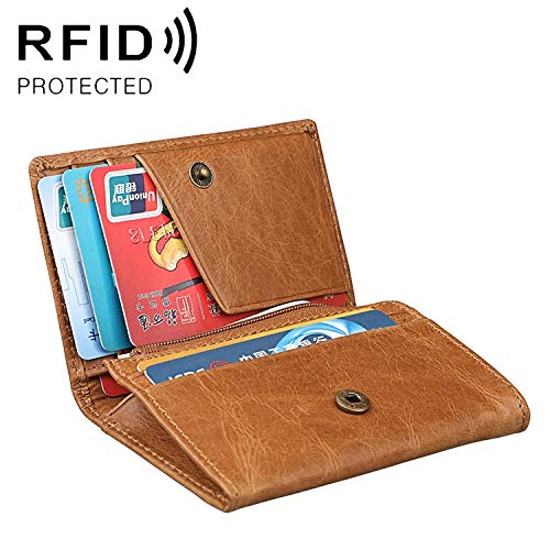 Wallet Wallets KB171 Antimagnetic RFID Crazy Horse Texture Leather Card Holder Wallet for Men and Women (Black) Purse (Color : Yellowish-brown)
