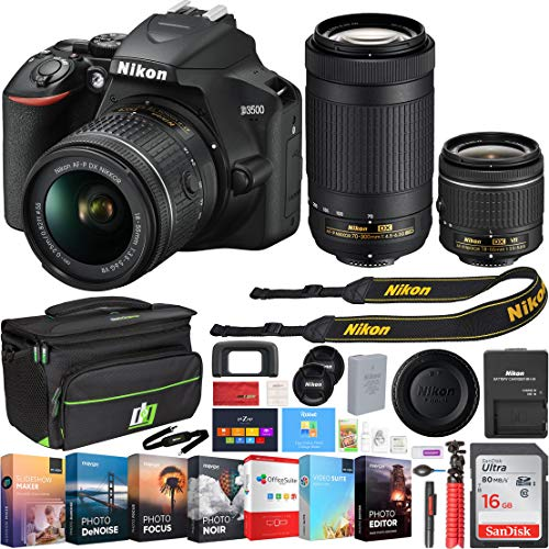 Nikon 1588 D3500 24.2MP DSLR Camera with AF-P 18-55mm VR Lens & 70-300mm Dual Zoom Lens Kit Bundle with 16GB Memory Card, Photo and Video Professional Editing Suite and Camera Bag for DSLR Cameras