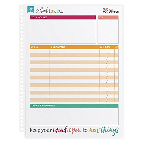 Erin Condren Designer Accessories Snap - in Wet Erase Dashboard for School Tracking. Laminated Reusable Whiteboard for Dry and Wet Erase Markers, Tracks Class Assignments
