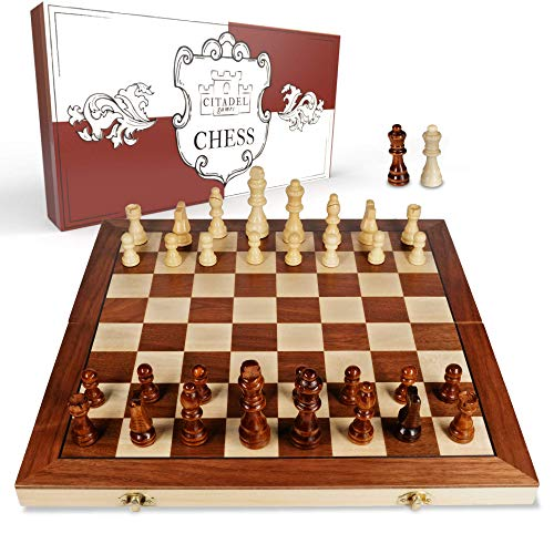 Magnetic Wooden Chess Set for Adults and Kids - Wooden Chess Board Game for Adults, Travel Chess Set for Kids, Chess Board Games for Kids, Portable Chess Set Magnetic with Classic Wood Weighted Pieces