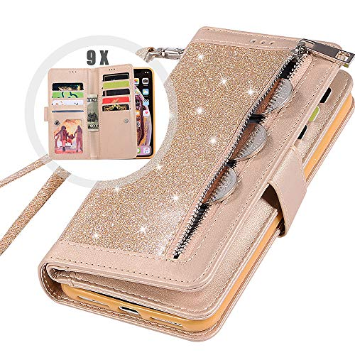 iPhone 6S Bling Wallet Case with Strap,Auker Girly Trifold 9 Card Holder Sparkly Glitter Zipper Wallet Case Folio Flip Leather Protective Purse Case with Stand/Money Pocket for Women iPhone 6 (Gold)