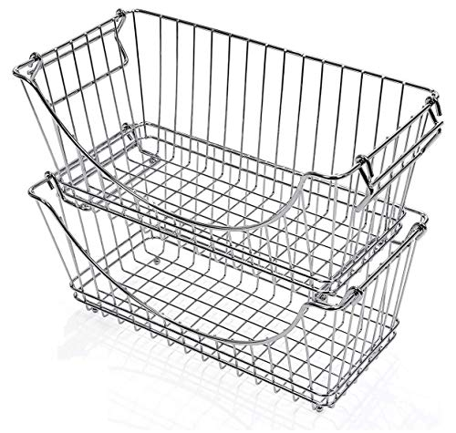 Smart Design Stacking Baskets Organizer - Medium (12.63 x 5.5 Inch) - w/Handle - Steel Metal - Food, Fruit, & Vegetable Safe - Kitchen - Set of 2 (Chrome)