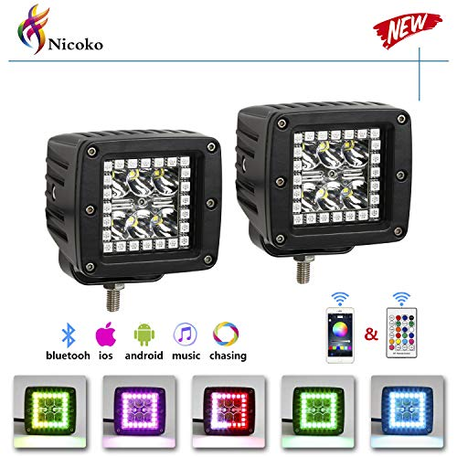 Pack 2 Nicoko 3' 18w led work light bar square pods with RGB Chasing Halo 10 solid colors over 72 Flashing modes Driving led Lights Fog Lamp Offroad Lighting for Suv Ute Atv Truck 4x4 Boat