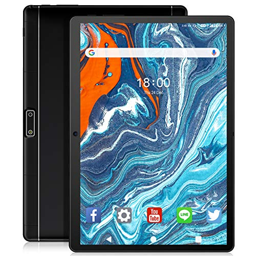 Tablet 10 inch Android Tablet, Quad-Core Processor 32GB Storage, Dual Camera, Sim Card Slot, WiFi, Bluetooth, GPS, 128GB Expand and 3G Phone Call Support, IPS Full HD Display (Black)