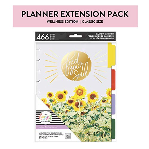 me & my BIG ideas 6 Month Wellness Extension - The Happy Planner Scrapbooking Supplies - 7 Pre-Punched Dividers - Undated Monthly & Weekly - 2  Sticker Sheets with Months and Numbers - Classic Size