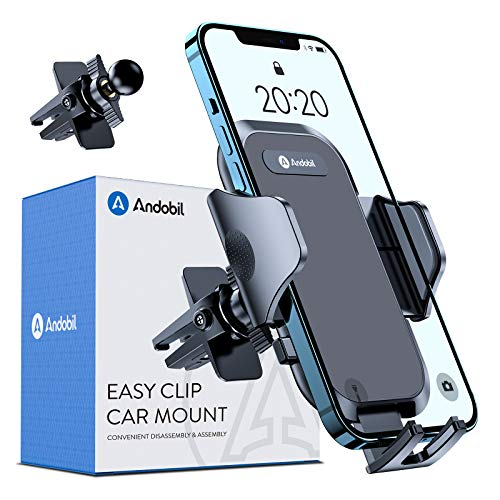 Andobil Phone Holder for Car, [Military Sturdy Clips Firmly Grip & Never Slip] Ultra Stable Car Vent Phone Mount, Universal Car Cell Phone Holder Compatible with All iPhone Samsung Other Smartphones