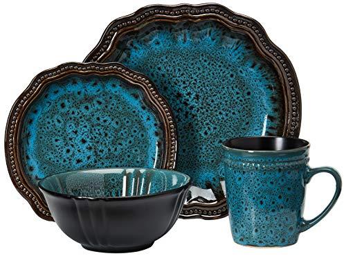 Elama Round Stoneware High Class Dinnerware Full Service Set, Ocean Blue