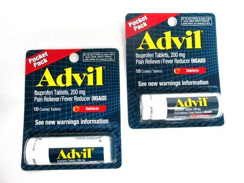 2 Pack of Pocket Pack Advil Pain Reliever / Fever Reducer Ibuprofen Gel Caplets 200mg - 10 Coated Tablets PER Pack (20 Tablets Total)