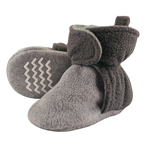 Hudson Baby Unisex Cozy Fleece Booties, Charcoal Heather Gray, 18-24 Months