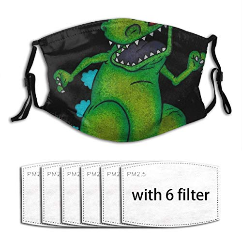 Reptar Rugrats Pencil Drawing Dinosaur T-Rex Nickelodeon Men Women Adjustable Ear Loops Face Mouth Anti Pollution Repeat with 6 Filters