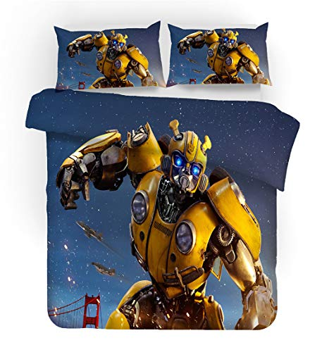 FAIRY KAARI Transformers Bumblebee Duvet Cover Cartoon Transformers Bumblebee Bedding Set 100% Polyester Teenagers Adult Bed Set,3pcs 1 Duvet Cover 2 Pillowcase Twin Full Queen King Size