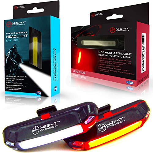Night Provision Bike Lights Front & Back USB Rechargeable LED Headlight Rear Tail Light Flasher Set Best for Road Mountain Bicycle