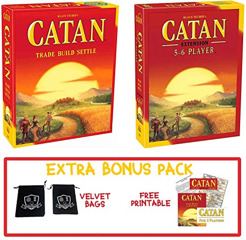Catan Board Game Kit - Base 5th Edition Game and 5-6 Player Expansion Bundle with Drawstring Bags - Settlers of Catan - Fun for Family and 2-Player Download Rules