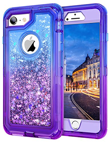 JAKPAK iPhone 6 Case,iPhone 6S Case Shockproof Glitter Flowing Liquid Bling Sparkle Gradient Cover for iPhone 6S for Girls Woman Heavy Duty Full Body Protective Case for iPhone 6S iPhone 6 Blue Purple