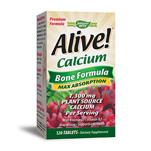 Nature's Way Alive! Calcium Bone Formula Supplement (1300 mg per serving), 120 Tablets