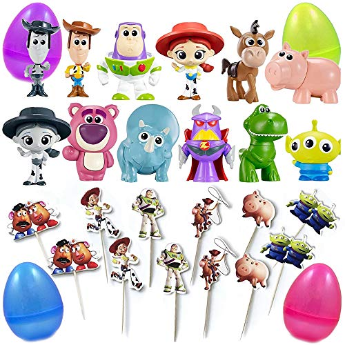 PARK AVE 12 Toy Story Mini Figures and 12 Cupcake Topper Picks with Jumbo Egg Storage, 1.5-2.5' Tall Mini Figure Toys for Kids Cupcake Cake Toppers Party Favor