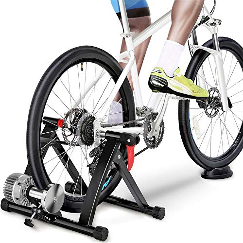 YAHEETECH Fluid Bike Trainer Stand Indoor Bicycle Exercise Stand Mountain & Road Bike Portable Foldable Cycling Training Stand w/Fluid Flywheel,Quick-Release,Riser Block & Noise Reduction