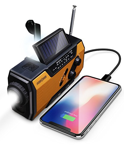 FosPower 2000mAh NOAA Emergency Weather Radio (Model A1) Portable Power Bank with Solar Charging, Hand Crank & Battery Operated, SOS Alarm, AM/FM & LED Flashlight for Outdoor Emergency