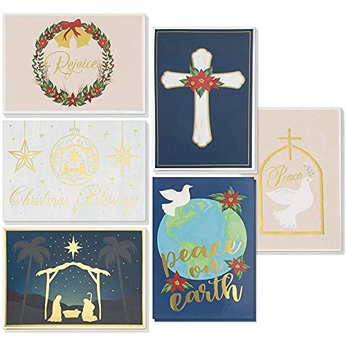 Christian Christmas Cards Assortment with Envelopes, 6 Designs (4 x 6 In, 48 Pack)
