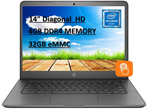 HP Chromebook 14' Touchscreen Laptop Computer for Student_ Intel Celeron N3350 up to 2.4GHz_ 4GB DDR4 RAM_ 32GB eMMC_ AC WiFi_ Type-C_ Webcam_ Chrome OS with E.S 32GB USB Card
