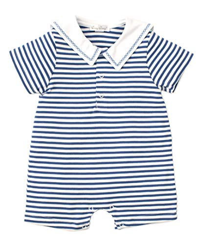 Kissy Kissy Baby-Boys Infant Crab Craze Stripe Short Playsuit with Collar-Blue-9 Months