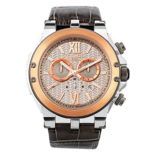 Mulco Nefesh Iconic Quartz Swiss Chronograph Movement Unisex Watch | Sundial Display with Rose Gold and Rose Gold Accents | Leather Watch Band | Water Resistant Stainless Steel Watch (Grey)