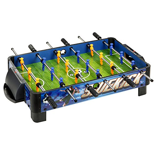 Hathaway BG1028T Sidekick Portable Foosball Table for Tabletops, 38', Blue/Green//Yellow