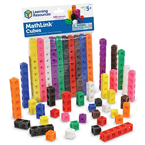 Learning Resources MathLink Cubes, Homeschool, Educational Counting Toy, Math Blocks, Linking Cubes, Early Math Skills, Math Cubes Manipulatives, Set of 100 Cubes, Easter Gifts for Kids, Ages 5+