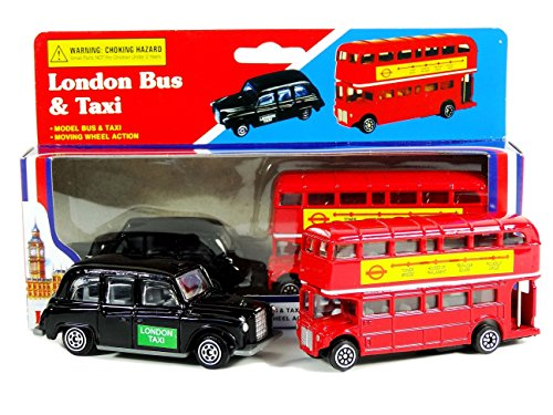 Diecast Metal London Bus and London Taxi Set (Mini) / Moving Wheel Action / Red Routemaster Double Decker / Black Cab