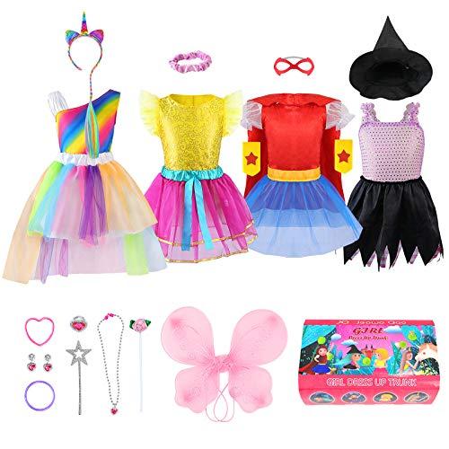 Girls Dress up Trunk Princess Set, Jeowoqao 24 PCS Pretend Play Costume Set, Fairytale, Supergirl, Princess, Rainbow Unicorn Costume for Toddler/Little Girls Ages 3-5yrs