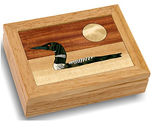 MarqART Wood Art Loon Box - Handmade in USA - Unmatched Quality - Unique, No Two are The Same - Original Work of Wood Art. A Loon Gift, Ring, Trinket or Wood Jewelry Box (#4143 The Loon 4x5x1.5)